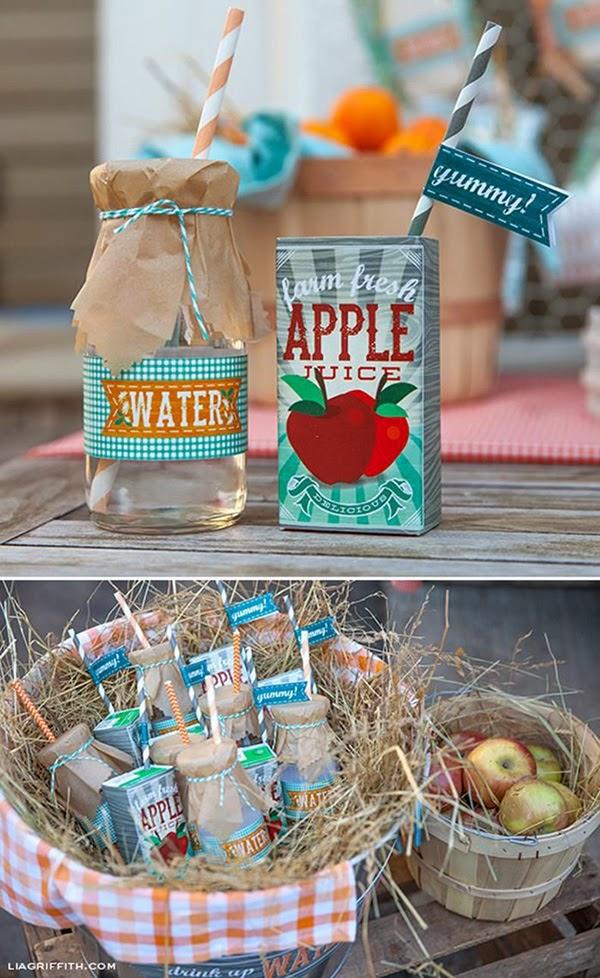 Botella agua y  brick zumo