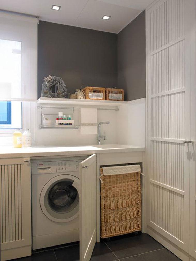 integrar lavadero en la cocina cesta ropa